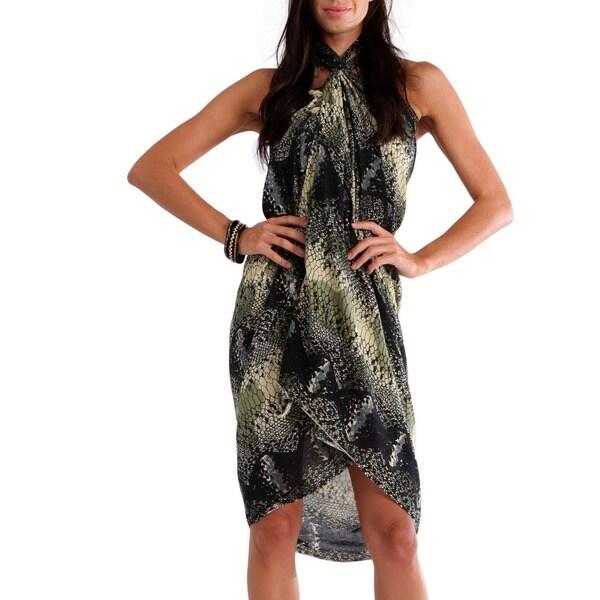 Handmade 1 World Sarongs Women's Brown/ Black Reptile Skin Sarong (Indonesia)