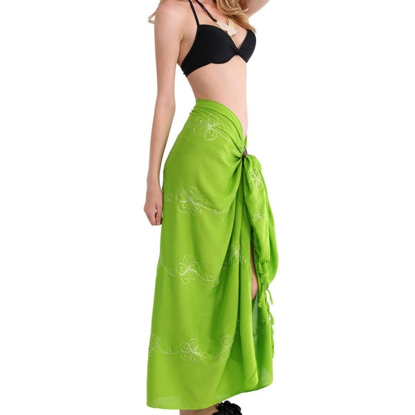 1 World Sarongs Women's Embroidered Sarong (Indonesia)