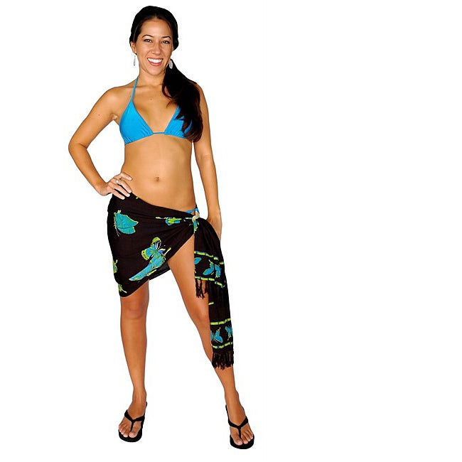 1 World Sarongs Women's Butterfly Blue/ Green Half Sarong (Indonesia)