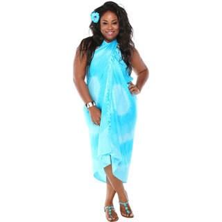 1 World Sarongs Women's Tri-dye Turquoise Sarong (Indonesia)