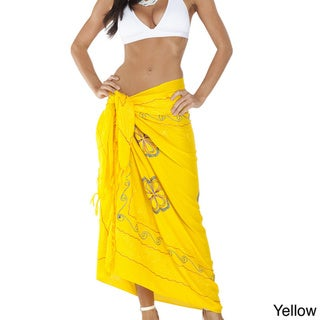 1 World Sarongs Women's Triple-embroidered 100-percent Rayon Sarong - Hand-crafted in Indonesia