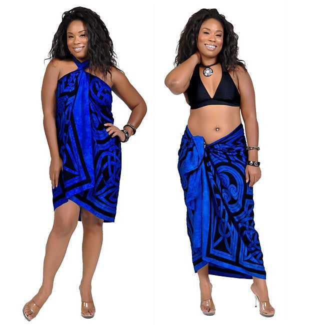 1 World Sarongs Women's Celtic Circles Cool Blue Sarong (Indonesia)
