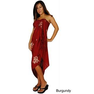 Handmade 1 World Sarongs Women's Batik Hibiscus Flower Sarong (Indonesia)