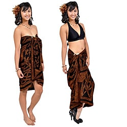 Handmade 1 World Sarongs Women's Celtic Circles Brown Sarong (Indonesia)