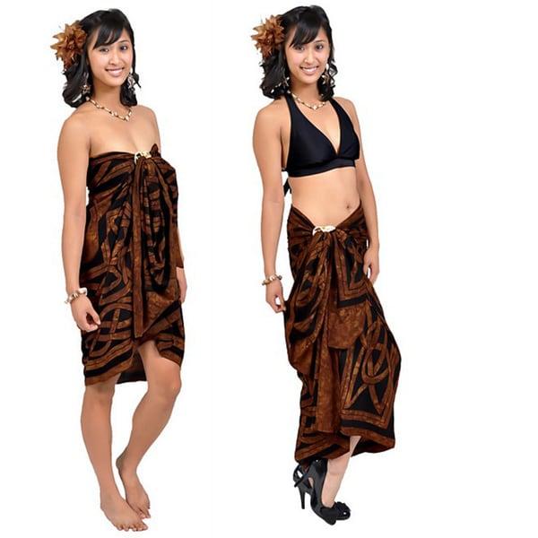 1 World Sarongs Women's Celtic Circles Brown Sarong (Indonesia)