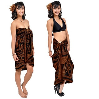 1 World Sarongs Women's Celtic Circles Brown Sarong (Indonesia)