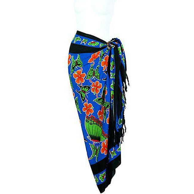 Handmade 1 World Sarongs Women's Butterfly Blue Sarong (Indonesia)