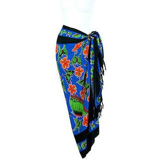 1 World Sarongs Women's Butterfly Blue Sarong (Indonesia)