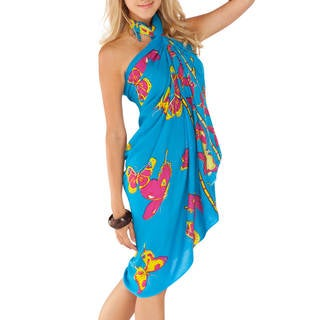 1 World Sarongs Women's Butterfly Blue/ Multicolor BF-15 Sarong (Indonesia)