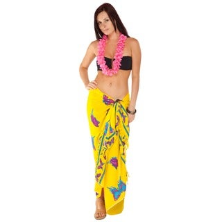 Handmade 1 World Sarongs Women's Butterfly Yellow/ Multicolor Sarong (Indonesia)