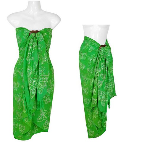 Handmade 1 World Sarongs Women's Butterfly Lime Green Sarong (Indonesia)