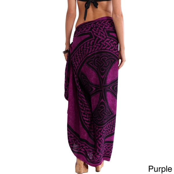 1 World Sarongs Women's Celtic Cross and Circle Fringed Sarong (Indonesia)