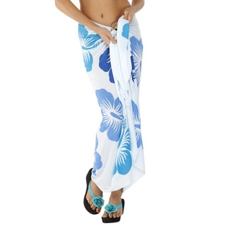 Handmade 1 World Sarongs Women's Fringed Floral Hawaiian Sarong (Indonesia)