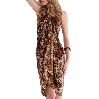 1 World Sarongs Women's Feline-print Full-length Rayon Handcrafted Sarong with Fringe