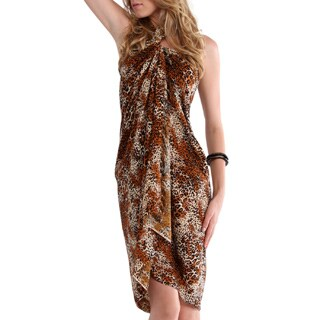 Handmade 1 World Sarongs Women's Feline-print Full-length Rayon Handmade Sarong with Fringe (Indonesia)