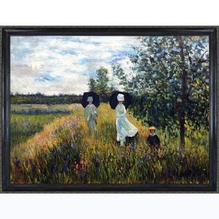 Monet 'Walking Near Argenteuil' Hand-painted Canvas Art