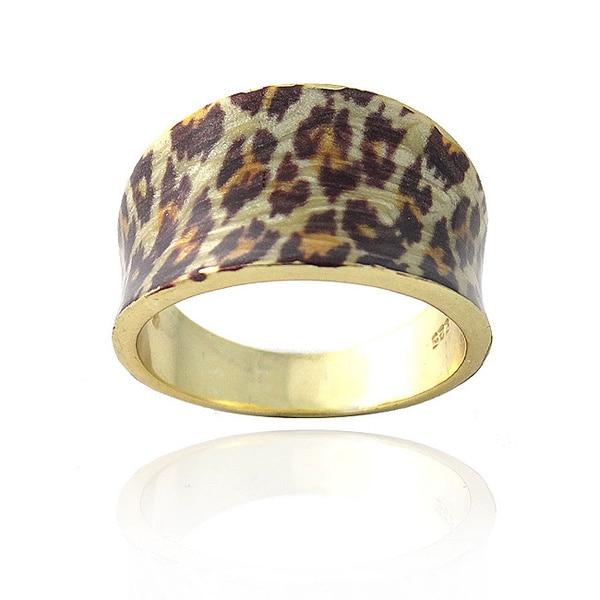 Glitzy Rocks 18k Gold over Sterling Silver Leopard Print Ring