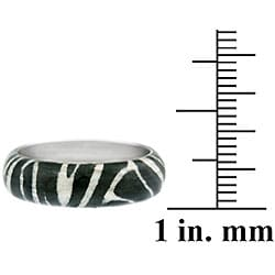 Glitzy Rocks Sterling Silver Black/White Enameled Zebra-print Fashion Ring