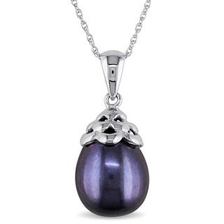 Miadora 10k White Gold Black Rice Cultured Freshwater Pearl Necklace (9-10 mm)
