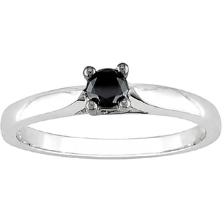 Miadora 10k White Gold 1/4ct TDW Black Diamond Solitaire Ring