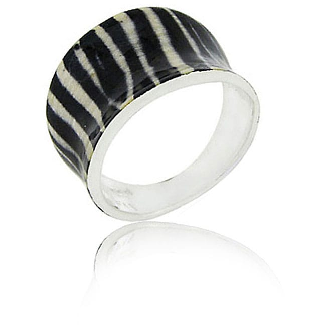 Glitzy Rocks Enamel-coated Silver Zebra Print Ring with 18-karat Overlay
