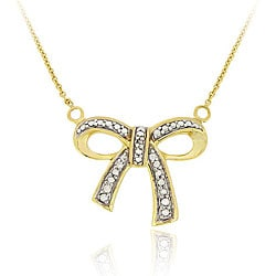 DB Designs 18k Gold over Sterling Silver Diamond Accent Bow Necklace