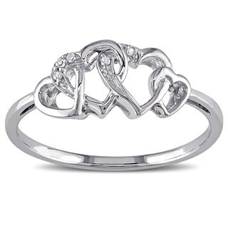 Miadora 10k White Gold Diamond Entwined Heart Ring (More options available)