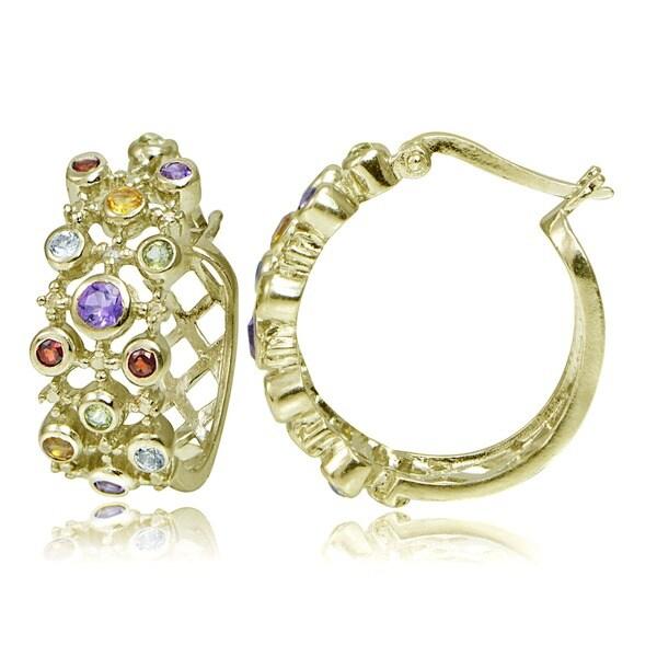 Glitzy Rocks 18k Gold over Sterling Silver Diamond and Gemstone Hoop Earrings