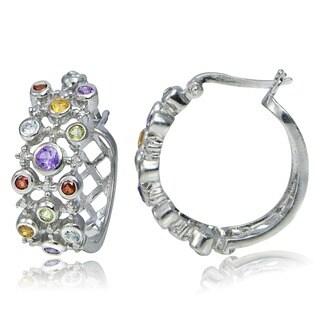 Glitzy Rocks Sterling Silver Diamond and Multi-gemstone Hoop Earrings