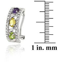 Glitzy Rocks Sterling Silver Diamond Multi-gemstone Half Hoop Earrings