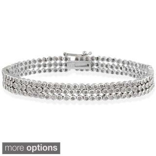 DB Designs Sterling Silver 2ct TDW Diamond 3-row Bracelet (I-J, I3)