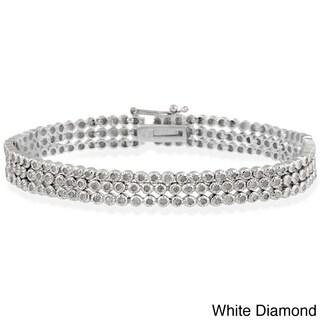 DB Designs Sterling Silver 2ct TDW Diamond 3-row Bracelet