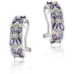 Glitzy Rocks Sterling Silver Amethyst and Diamond Half Hoop Earrings|https://ak1.ostkcdn.com/images/products/4178855/Glitzy-Rocks-Sterling-Silver-Amethyst-and-Diamond-Half-Hoop-Earrings-P12177731.jpg?impolicy=medium