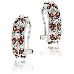 Glitzy Rocks Sterling Silver Garnet and Diamond Half-hoop Earrings