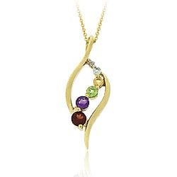Glitzy Rocks 18k Gold over Silver Multi-gemstone/ Diamond Journey Necklace