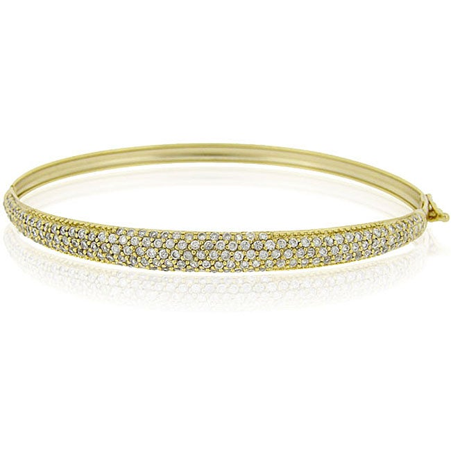 Icz Stonez 18k Yellow Gold over Sterling Silver Cubic Zirconia Bangle