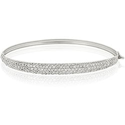 Icz Stonez Sterling Silver Cubiz Zirconia Bangle