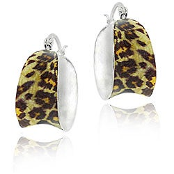 Glitzy Rocks Sterling Silver Enamel Leopard Print Hoop Earrings