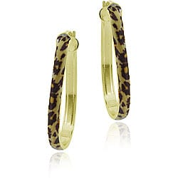 Glitzy Rocks 18k Gold over Sterling Silver Enamel Leopard Print Hoop Earrings