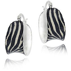 Glitzy Rocks Sterling Silver Enamel Zebra Print Hoop Earrings