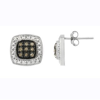 DB Designs Sterling Silver 1/5ct TDW Brown Diamond Square Earrings