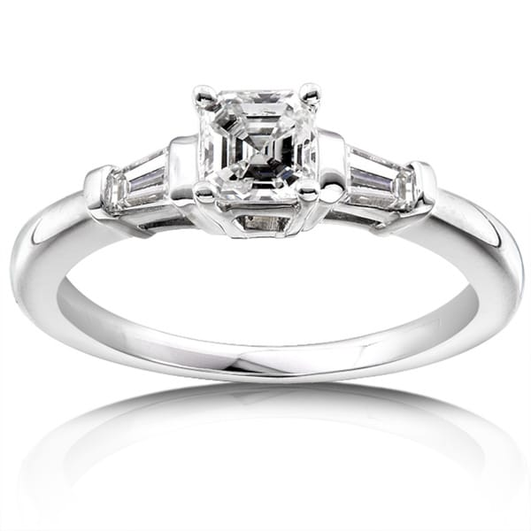 Annello by Kobelli 14k Gold 3/4ct TDW Asscher Diamond Engagement Ring (H-I, SI)
