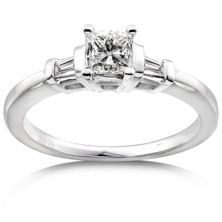 Annello 14k Gold 1/2ct TDW Princess-cut Diamond Engagement Ring - White