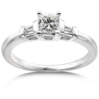 Annello 14k Gold 1/2ct TDW Princess-cut Diamond Engagement Ring - White