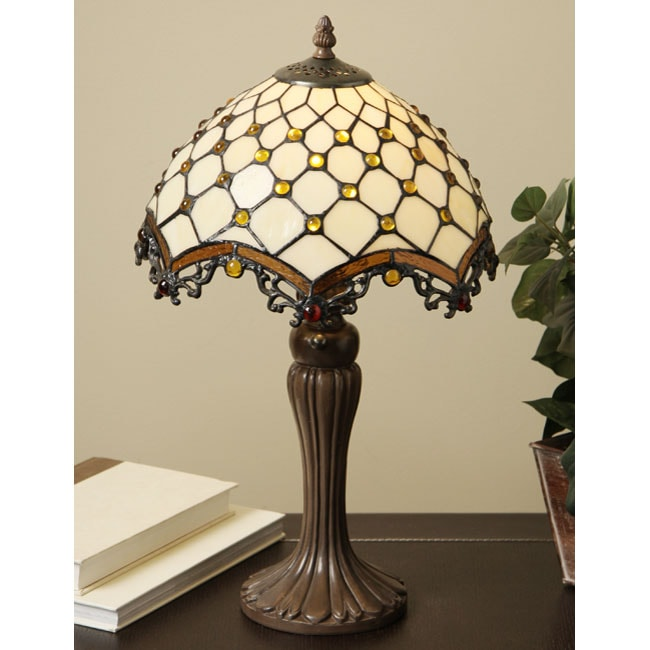 tiffany style jewel roman table lamp free shipping today overstock. Black Bedroom Furniture Sets. Home Design Ideas