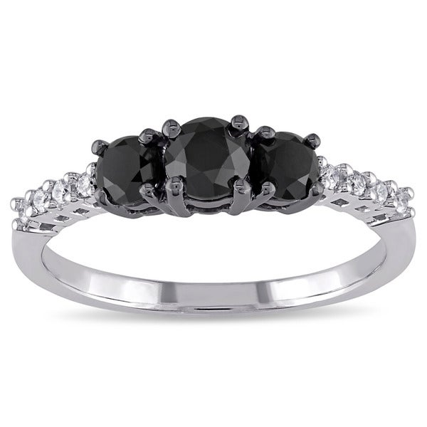Miadora 10k Gold 1ct TDW Black and White Diamond Ring