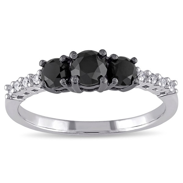 Miadora 10k Gold 1ct TDW Black and White Diamond Ring