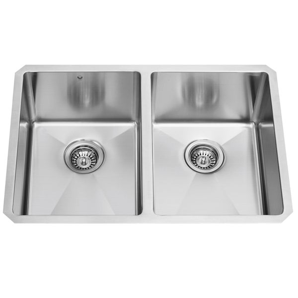 VIGO 29-inch Undermount Stainless Steel 16 Gauge Stainless Steel Double Kitchen Sink with Rounded Edge