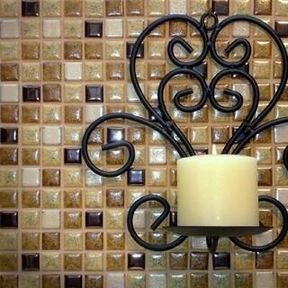SomerTile 12.25x12.25-inch Metal Multi Beige Porcelain Mosaic Floor and Wall Tile (10 tiles/10.5 sqft.)