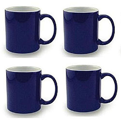 Ceramic Cobalt Navy Blue and White Coffee Tea Mugs Pack of 4